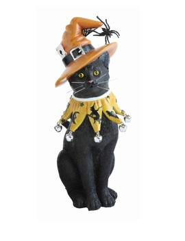 Halloween Witch Hat Resin Cat by Creative Co Op