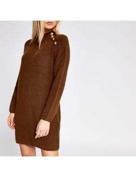 Dark Brown Knit Jumper Dress by River Island