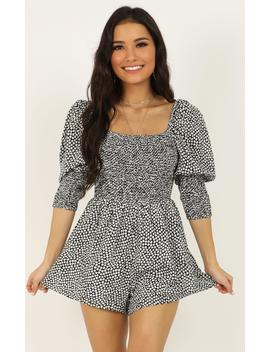 Beauty Is Within Us Playsuit In Black by Showpo Fashion