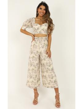 Greatness Two Piece Set In Cream Floral by Showpo Fashion