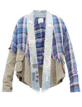 Deconstructed Denim And Tartan Shirt by Greg Lauren