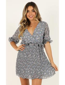 Give It A Spin Dress In Blue Print by Showpo Fashion