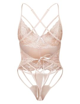 Blush Strapping Detail Lace Body by Prettylittlething