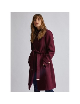 Burgundy Button Wrap Coat by Dorothy Perkins
