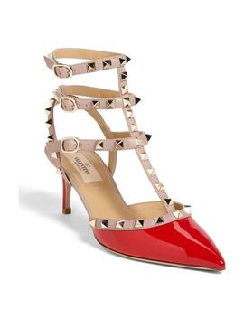 Red Rockstud Pointy Toe Pumps by Valentino