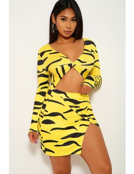 Yellow Black Animal Print Cut Out Long Sleeve Dress by Ami Clubwear