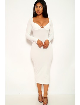 White V Wire Long Sleeves Dress by Ami Clubwear