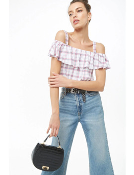 Open Shoulder Flounce Plaid Crop Top by Forever 21