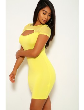 Yellow Mesh Cut Out Party Dress by Ami Clubwear