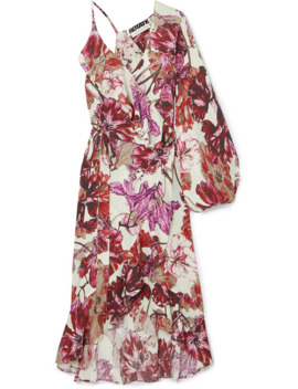 Asymmetric Ruffled Floral Print Crepe Wrap Dress by Rotate Birger Christensen
