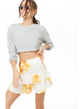Floral Fluted Flounce Skirt by Forever 21