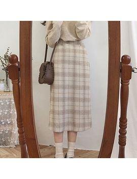 Tangihouse   Plaid Midi H Line Skirt by Tangihouse