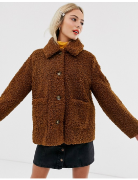 Asos Design Teddy Button Through Coat by Asos Design
