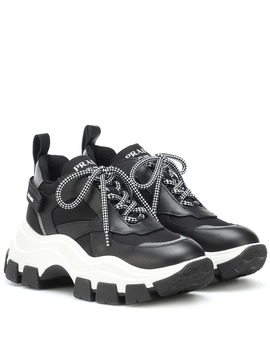 Leather Trimmed Sneakers by Prada
