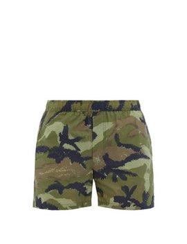 Camo Art Print Swim Shorts by Valentino