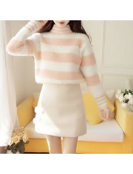 Petit Lace   Set: Striped Turtleneck Sweater + A Line Skirt by Petit Lace
