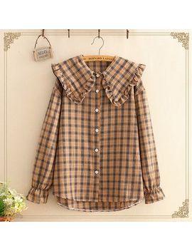 Kawaii Fairyland   Ruffle Hem Collar Checked Blouse by Kawaii Fairyland
