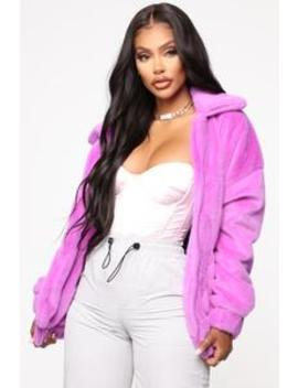 Places To Be Faux Fur Jacket   Purple by Fashion Nova