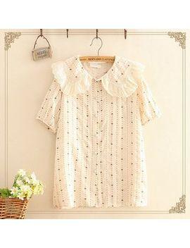 Kawaii Fairyland   Heart Printed Lace Trim Shirt by Kawaii Fairyland