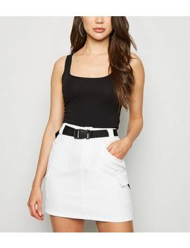 Cameo Rose White Clip Belt Utility Skirt by New Look