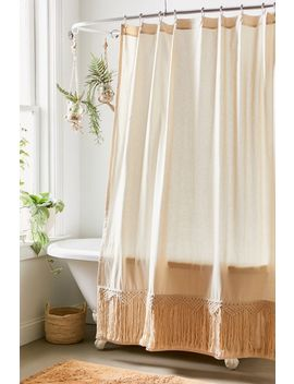 Odessa Lattice Trim Shower Curtain by Urban Outfitters