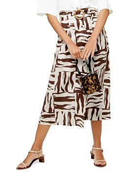 Zebra Print Linen Blend Midi Skirt by Topshop
