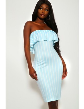 Light Blue White Striped Strapless Dress by Ami Clubwear