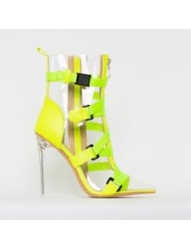Jordun Yellow Snake Print Clear Buckle Zip Ankle Boots by Simmigirl