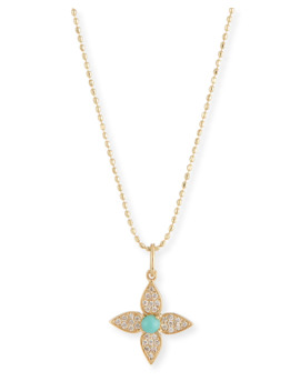 14k Diamond & Turquoise Paisley Flower Necklace by Sydney Evan