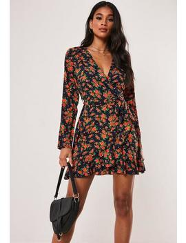 Navy Floral Satin Ruffle Wrap Tea Dress by Missguided