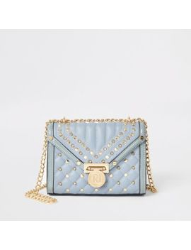 Light Blue Studded Quilted Cross Body Bag    Blue Studded Quilted Cliptop Purse by River Island