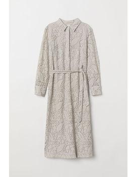 Koronkowa Sukienka Z Paskiem by H&M