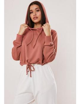 Pink Drawstring Cropped Hoodie by Missguided