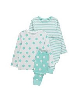 Mint And White Spots And Stripes Pyjamas 2 Pack by Asda