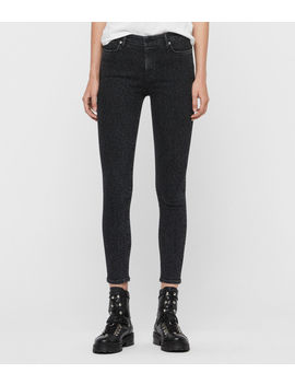 Grace Leopard Cropped Mid Rise Jeans, Washed Black by Allsaints
