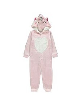 Pink Shimmering Flying Unicorn Hooded Onesie by Asda
