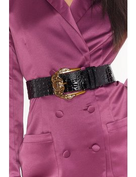 Game Oversized Croc Faux Leather Belt by Nasty Gal