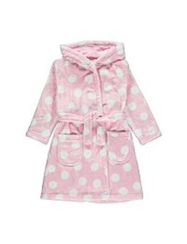 Pink Polka Dot Fleece Dressing Gown by Asda