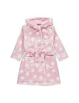 Pink Polka Dot Fleece Dressing Gown by Asda