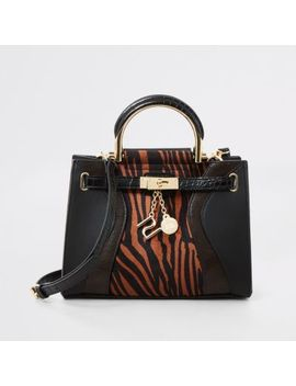 Brown Tiger Print Cross Body Tote Bag by River Island