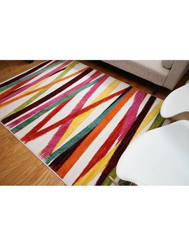 Thaler Modern Stripes Red/Yellow/Green Area Rug by Wrought Studio