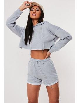 Grey Oversized Hoodie And Shorts Co Ord Set by Missguided