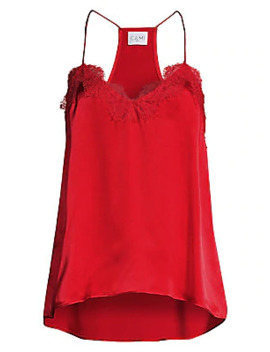 The Racer Lace Trim Silk Camisole by Cami Nyc