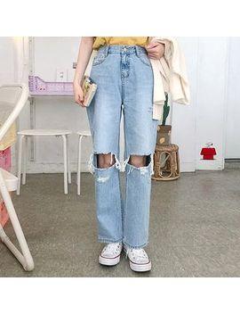 Icecream12   Slit Knee Straight Cut Jeans by Icecream12