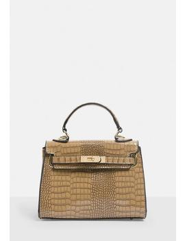 Stassie X Missguided Taupe Croc Effect Mini Handbag by Missguided