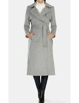 Karen Millen Women's Gray Wool And Cashmere Longline Casual Trench Coat Uk 14 42 by Ebay Seller