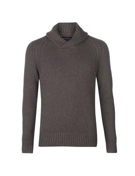 Callington Cotton Shawl Neck Jumper With Neps by Howick