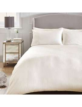 Hotel 200 Thread Count 100% Cotton Stripe White Duvet Cover And Pillowcase Set by Dunelm