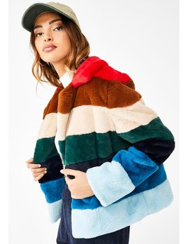 Rainbow Pop Faux Fur Jacket by Blank Nyc