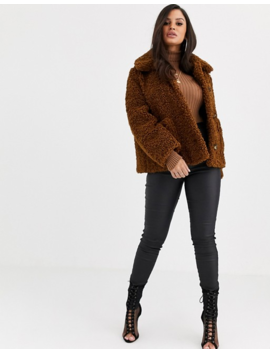 Asos Design Petite Teddy Button Through Coat In Brown by Asos Design